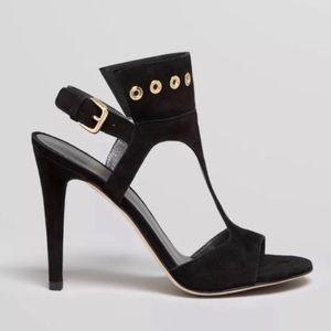 Stuart Weitzman French Cuff Sandal Heels Black 7.5